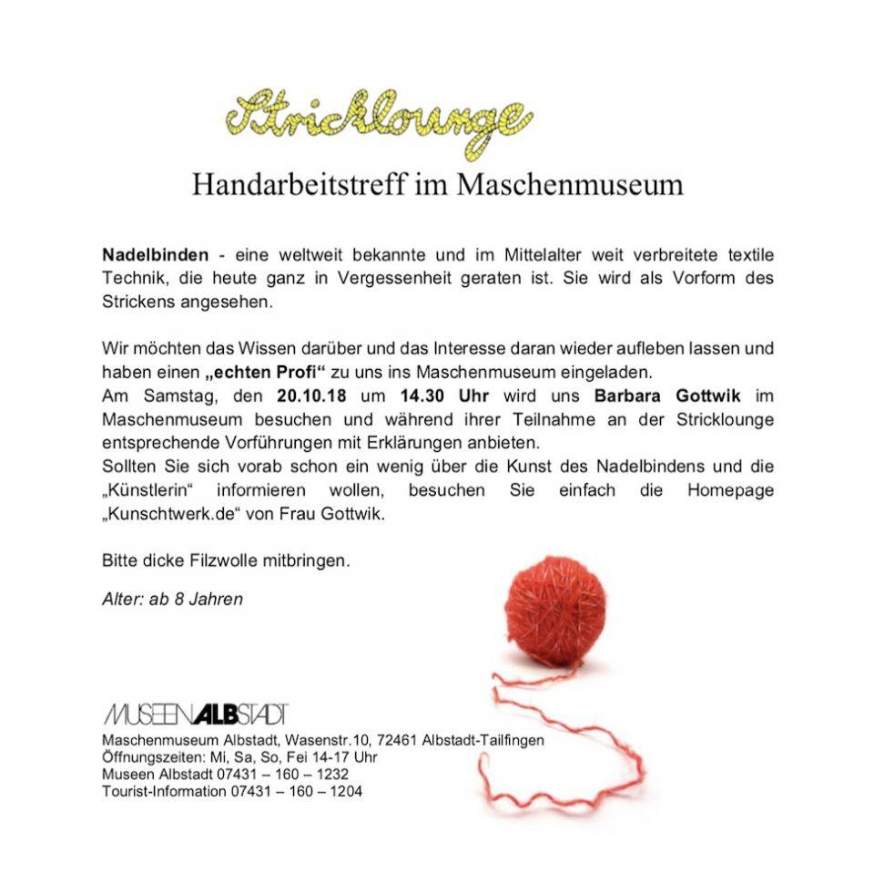 Flyer des Maschenmuseums für den Treff zum Nadelbinden